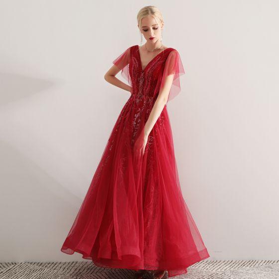 36b6971354 Piękne Burgund Sukienki Wieczorowe 2019 Princessa V-Szyja Z Koronki  Aplikacje Frezowanie Kryształ Kótkie Rękawy Bez Pleców Długie Sukienki  Wizytowe