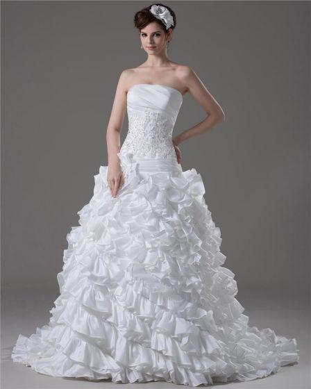 Bretelles A Volants Perles Etage Longueur Taffetas Robe De Bal De Mariage Robe