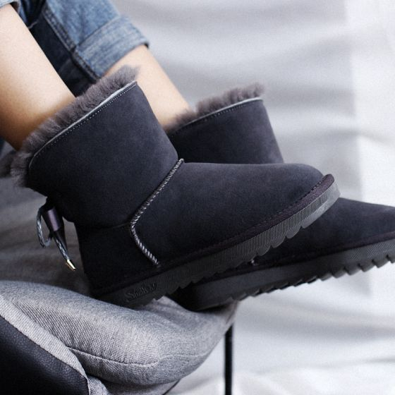 Modern / Fashion Snow Boots 2017 Grey Leather Ankle Suede Bow Casual Winter Flat Womens Boots