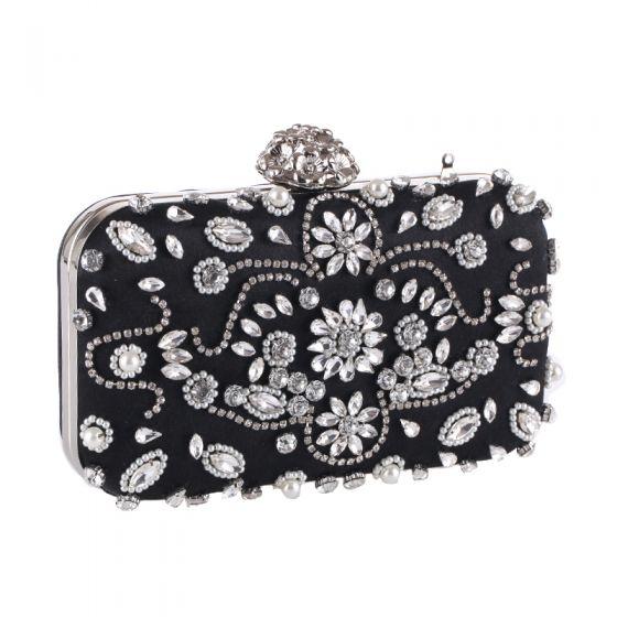 Modern / Fashion Black Pearl Rhinestone Clutch Bags 2018
