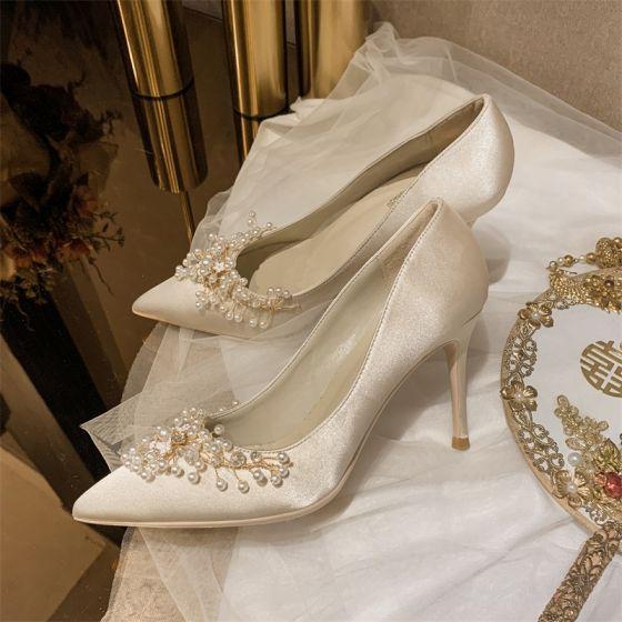 Elegante Beige Perle Brautschuhe 2020 Leder Satin 10 cm Stilettos Spitzschuh Hochzeit Pumps