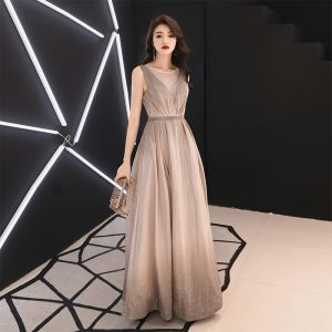 Charming Gradient-Color Evening Dresses  2019 A-Line / Princess Scoop Neck Glitter Polyester Rhinestone Sleeveless Backless Floor-Length / Long Formal Dresses