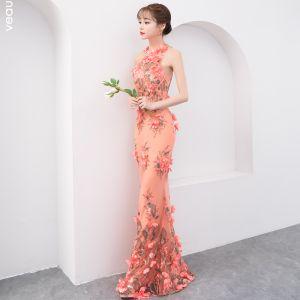 Hada de las flores Naranja Vestidos de noche 2019 Trumpet / Mermaid Scoop Escote Sin Mangas Apliques Flor Perla Largos Ruffle Sin Espalda Vestidos Formales