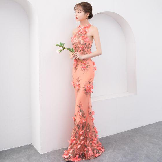 Vestidos de flores largos de noche