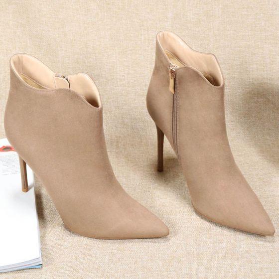 Mode Tan Strassenmode Wildleder Stiefel Damen 2020 10 cm Stilettos Spitzschuh Stiefel
