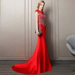 Charming Red Evening Dresses  2018 Trumpet / Mermaid Pearl Sequins Scoop Neck Sleeveless Court Train Formal Dresses