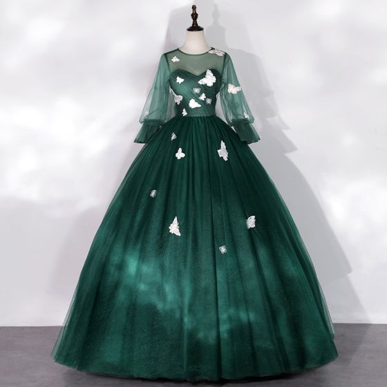 Flower Fairy Dark Green See-through Dancing Prom Dresses 2020 Ball Gown Scoop Neck Puffy Long Sleeve Butterfly Appliques Lace Floor-Length / Long Ruffle