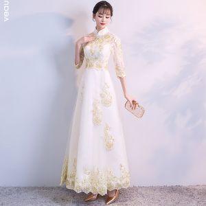 Chiński Styl Szampan Sukienki Wieczorowe 2018 Princessa Wysokiej Szyi Koronki Tiulowe Aplikacje Bez Pleców Wieczorowe Sukienki Wizytowe