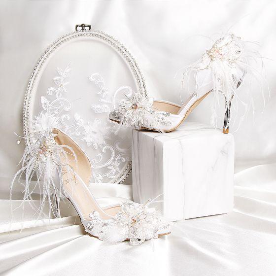 Luxe Blanche Charmeuse Perlage Plumes Faux Diamant Chaussure De Mariée 2019