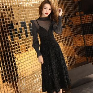 2 Pièces Noire Transparentes Robe De Fete 2019 Princesse Col Haut Manches Longues Glitter Polyester Thé Longueur Volants Robe De Ceremonie