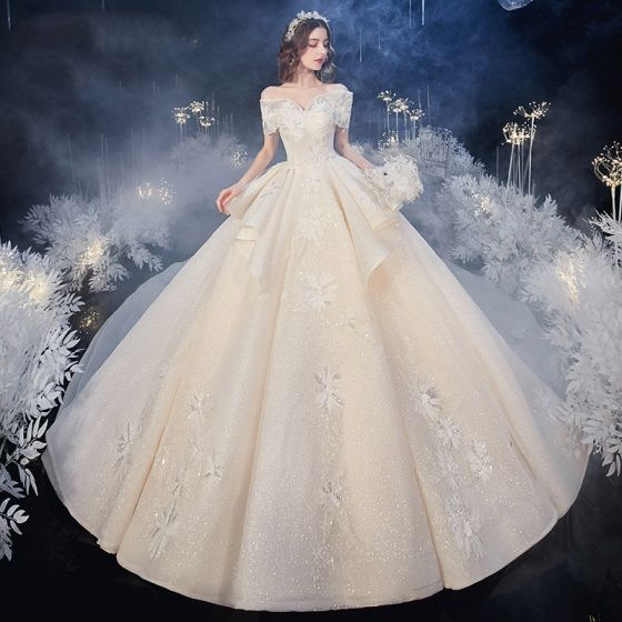 Luxury / Gorgeous Champagne Bridal Wedding Dresses 2020 Ball Gown Off-The-Shoulder Short Sleeve Backless Appliques Lace Beading Glitter Tulle Royal Train Ruffle