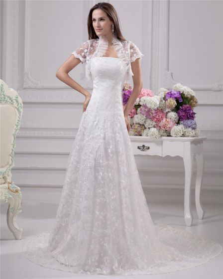 Elegant Strapless Floor Length Court Train Satin Lace Sheath Wedding Dress