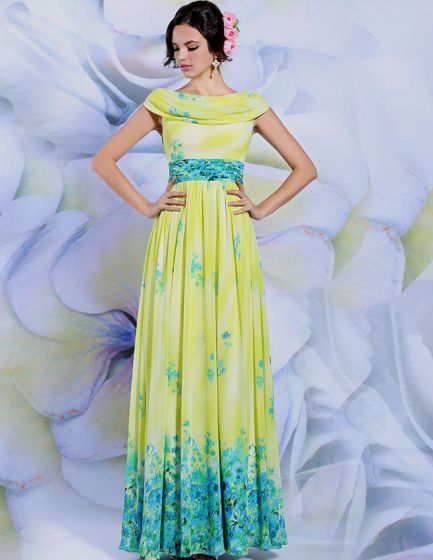 2015 Printed Pleated Evening Dress