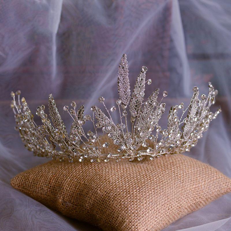 Chic / Beautiful Gold Bridal Hair Accessories 2020 Alloy Metal Rhinestone Tiara Wedding Accessories