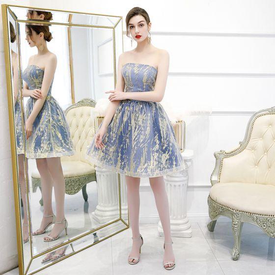 Affordable Ocean Blue Homecoming Graduation Dresses 2020 A-Line / Princess Strapless Sleeveless Glitter Tulle Short Ruffle Backless Formal Dresses