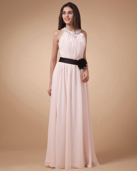 Graceful Strapless Chiffon Floor Length Bridesmaid Dress Gown