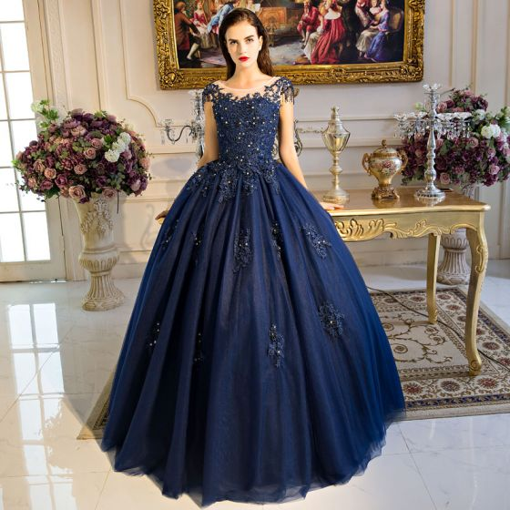 fd73ced13e4 Classic Navy Blue Quinceañera Prom Dresses 2018 Ball Gown Lace Appliques  Beading Sequins Scoop Neck Backless ...