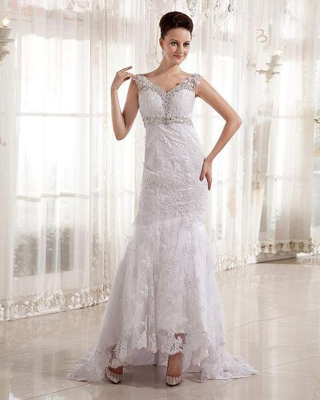 Vestido de novia encaje cuello v