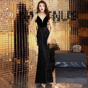 Chic / Beautiful Black Evening Dresses  2019 Trumpet / Mermaid Spaghetti Straps Sleeveless Tassel Floor-Length / Long Backless Formal Dresses