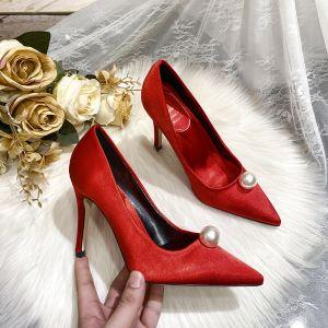 Schöne Satin Rot Perle Brautschuhe 2020 Leder 9 cm Stilettos Spitzschuh Hochzeit Pumps