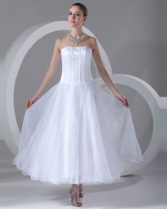 Organza Trägerlosen Knöchellang Falten Kurz Brautkleider Mini