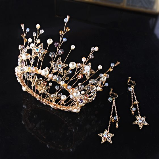 Chic / Beautiful Gold Bridal Jewelry 2019 Metal Tiara Earrings Star Crystal Pearl Accessories