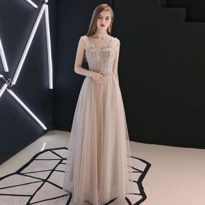 Charming Champagne Evening Dresses  2018 A-Line / Princess Crystal Off-The-Shoulder Backless Sleeveless Floor-Length / Long Formal Dresses