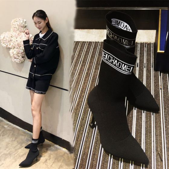 Flotte Sorte Streetwear Støvler Dame 2019 8 cm Stiletter Spidse Tå Støvler