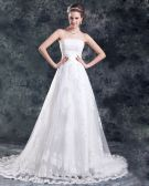 Tulle Lace Applique Beads Flower Court Train Strapless Ball Gown Women A Line Wedding Dress
