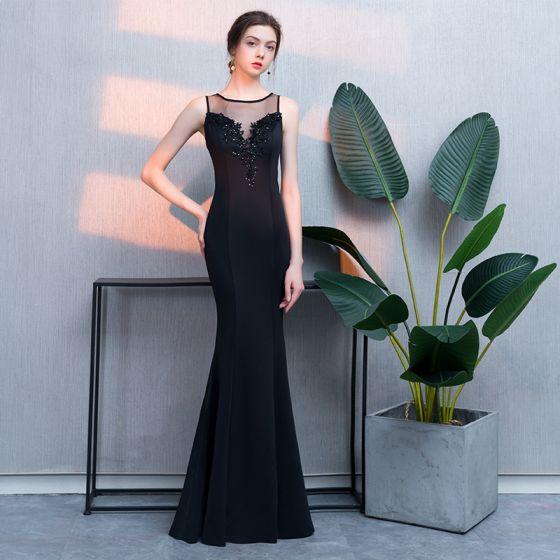 Mode Svarta Aftonklänningar 2019 Trumpet / Sjöjungfru Spets Beading Paljetter Urringning Ärmlös Långa Formella Klänningar