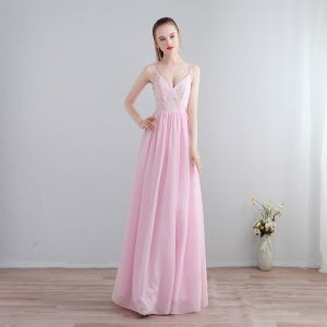 Modest / Simple Candy Pink Floor-Length / Long Evening Dresses  2018 A-Line / Princess Chiffon V-Neck Backless Printing Formal Dresses