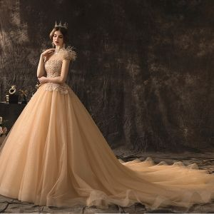 High-end Champagne Wedding Dresses 2019 A-Line / Princess High Neck Beading Sequins Lace Flower Short Sleeve Tassel Backless Cathedral Train