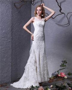 Jewel Bead Floor Length Lace Sheath Wedding Dress