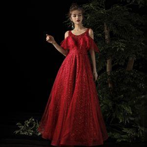 Chic / Beautiful Burgundy Evening Dresses  2019 A-Line / Princess Scoop Neck Short Sleeve Glitter Tulle Floor-Length / Long Ruffle Backless Formal Dresses