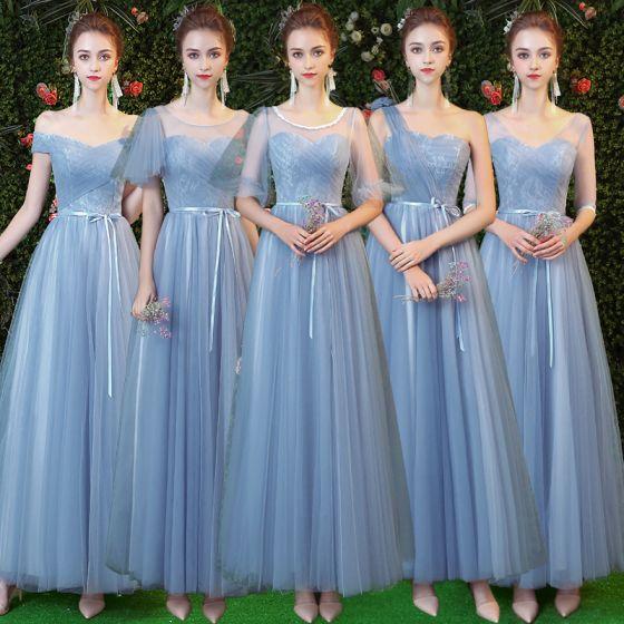 Chic / Beautiful Sky Blue Bridesmaid Dresses 2019 A-Line / Princess Sash Floor-Length / Long Ruffle Backless Wedding Party Dresses
