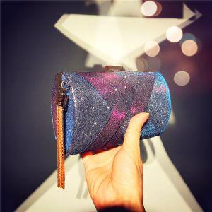 Mode Traube Quadratische Clutch Tasche 2020 Metall Quaste Glanz Polyester