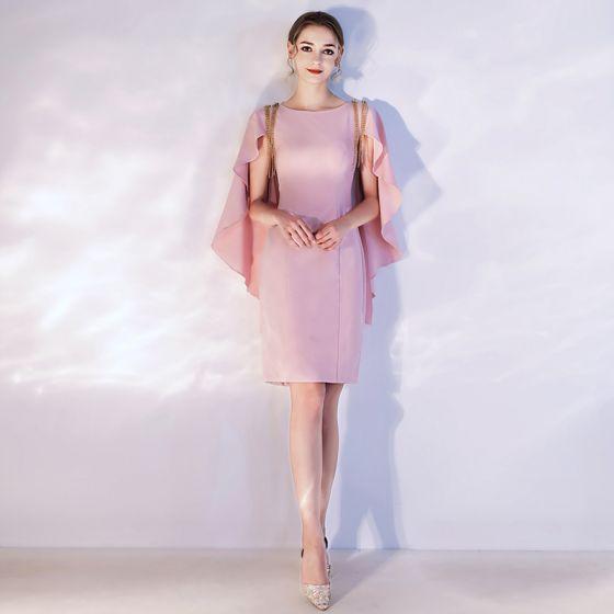 Schöne Pink Heimkehr Abiballkleider 2020 Rundhalsausschnitt Kurze Ärmel Perlenstickerei Quaste Kurze Festliche Kleider