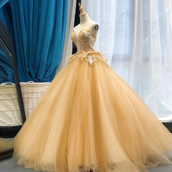 Haut de Gamme Champagne Dansant Robe De Bal 2020 Robe Boule Amoureux Sans Manches Appliques En Dentelle Perlage Longue Volants Dos Nu Robe De Ceremonie