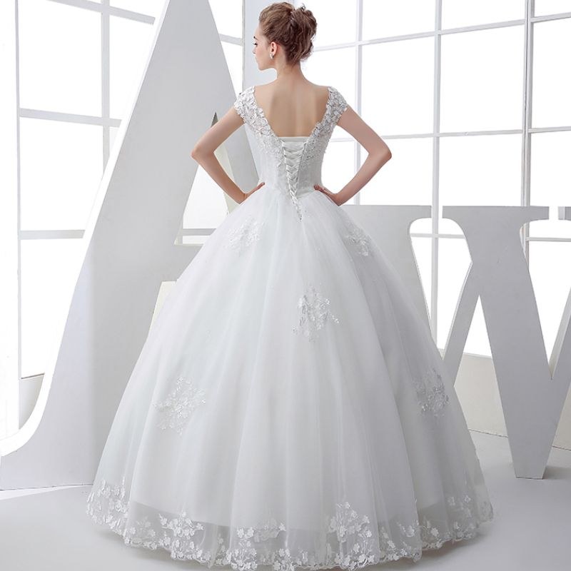 Classic Church Wedding Dresses 2017 White Ball Gown Floor-Length / Long V-Neck Sleeveless Backless Lace Beading Sequins Appliques