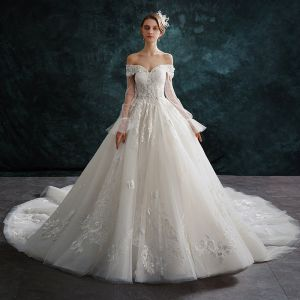 Audrey Hepburn Style Ivory Wedding Dresses 2019 A-Line / Princess Off-The-Shoulder Pearl Appliques Lace Flower Short Sleeve Backless Cathedral Train