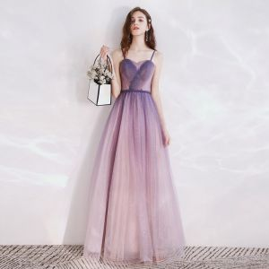 Chic / Beautiful Purple Gradient-Color Evening Dresses  2020 A-Line / Princess Spaghetti Straps Sleeveless Glitter Tulle Braid Sash Floor-Length / Long Backless Formal Dresses