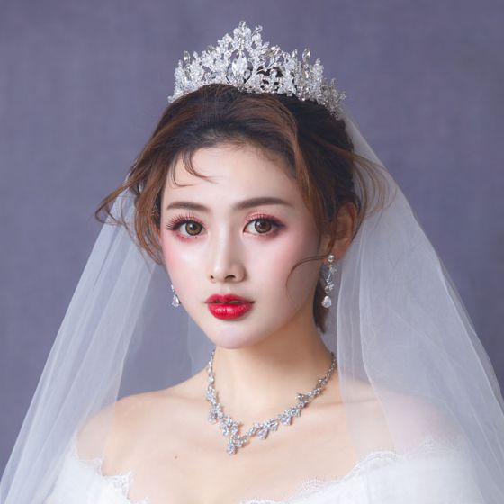 Chic / Beautiful Silver Bridal Jewelry 2019 Metal Earrings Necklace Tiara Crystal Rhinestone Wedding Accessories