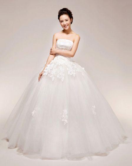 Graceful Applique Beading Strapless Satin Ball Gown Wedding Dress