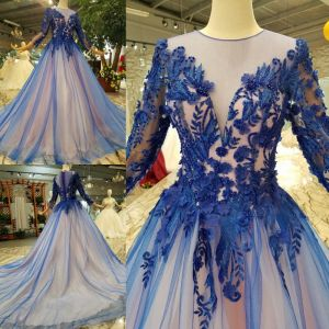 Chic / Beautiful Royal Blue Evening Dresses  2019 A-Line / Princess Scoop Neck Lace Flower Appliques Beading Crystal 3/4 Sleeve Chapel Train Formal Dresses