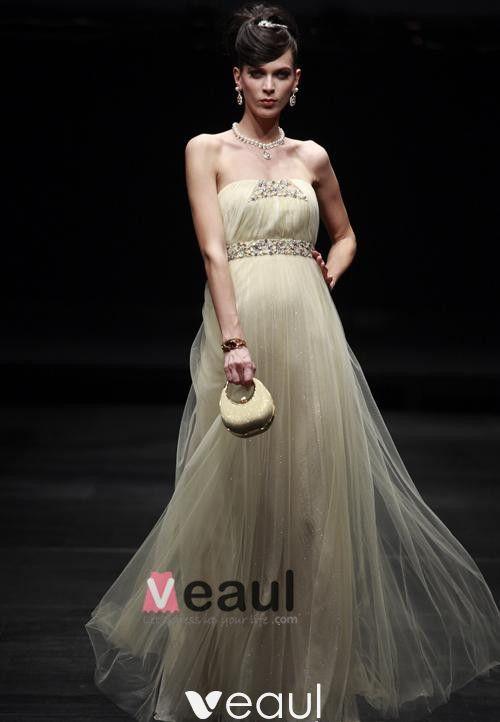 Sexy Strapless Floor-length Fabric Evening Dress