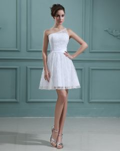 Bördelnde Spitze Satin Ein Schultergurt Kurz Mini Brautkleider