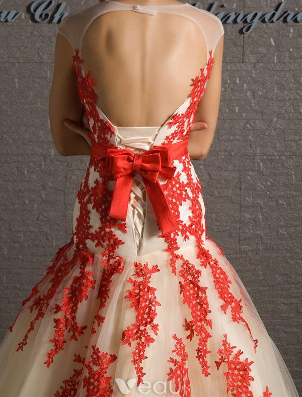 Atemberaubenden Ballkleider 2016 Seejungfrau Applikation Roter Spitze Champagner Tüll Kleid Mit Schleife-knoten