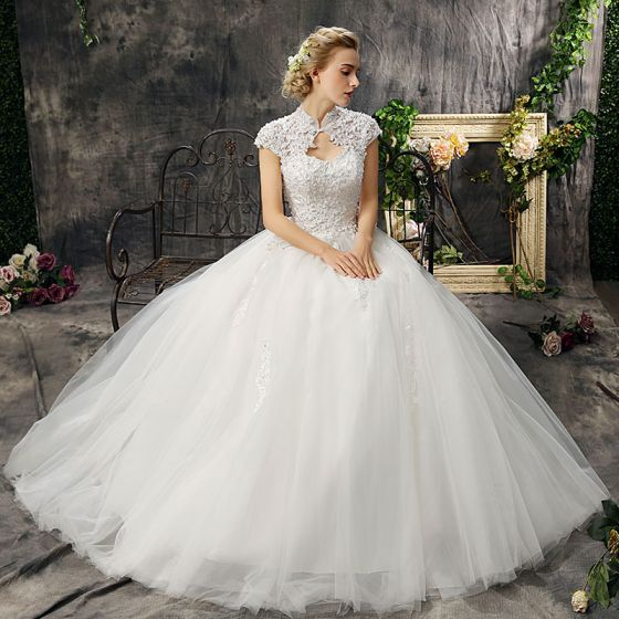 Affordable Chic / Beautiful Hall Wedding Dresses 2017 Lace Appliques Rhinestone Backless High Neck Short Sleeve Floor-Length / Long Ivory Ball Gown