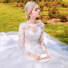 Chic / Beautiful Outdoor / Garden White Wedding Dresses 2017 Ball Gown Pierced Scoop Neck Long Sleeve Backless Appliques Flower Lace Royal Train