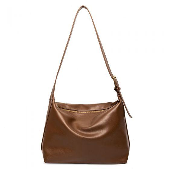 Minimalistisch Braun Schultertaschen Umhängetasche 2021 PU Freizeit Damentaschen